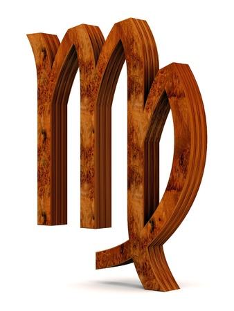 houten beeld dierenriem teken op een witte achtergrond