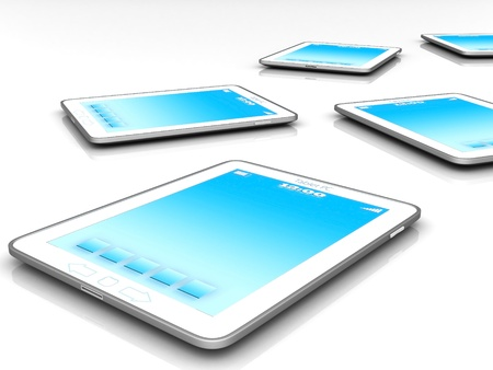 umpc: Image of computer technology on a white background isolated Stock Photo