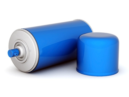 Image of aluminum spray cans of paint on a white background Stock Photo