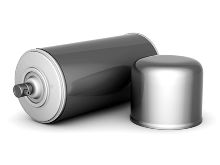 Image of aluminum spray cans of paint on a white background photo