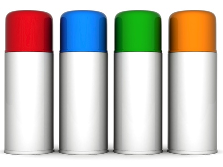 aerosol can: Image of aluminum spray cans of paint on a white background Stock Photo