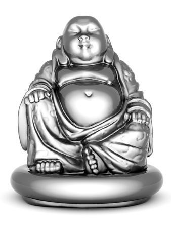buddha image: image of a silver statue of Buddha and a lotus flower