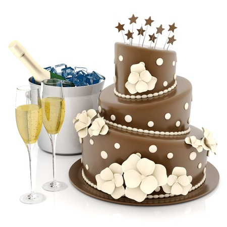 felicitaciones cumpleaÑos: Un hermoso pastel de bodas en un fondo blanco