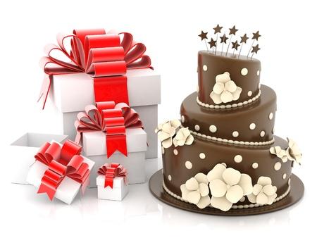 A beautiful wedding cake on a white background
