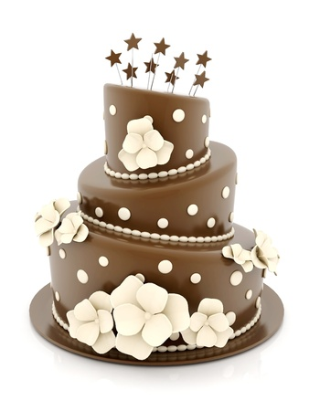 A beautiful wedding cake on a white background photo