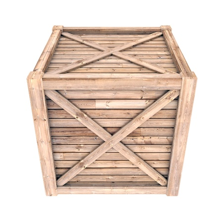 crate: image on a white wooden container, isolated background Stock Photo