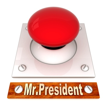 image the red button on a white background Stock Photo