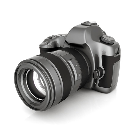 photo camera: Digital camera image on white background