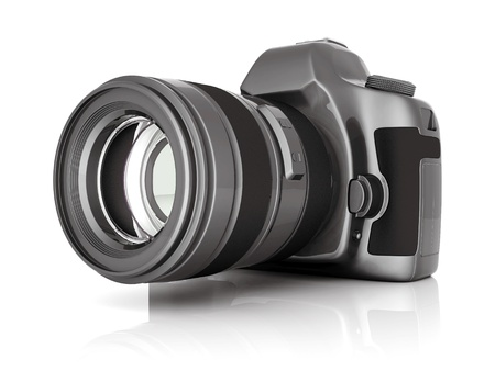 photography icon: Digital camera image on white background