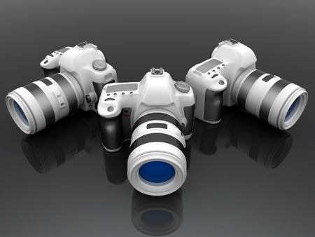 camera flash: Digital camera image on white background
