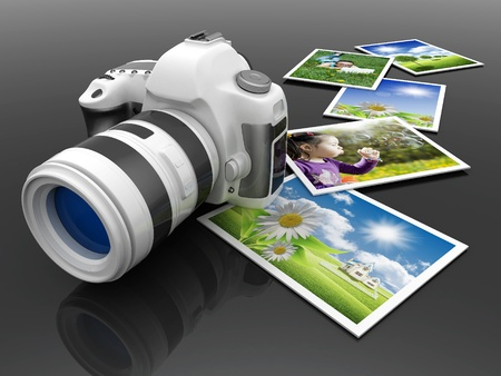 Digital camera image on white background photo