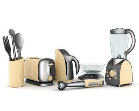 percolator: picture of household appliances on a white background Stock Photo
