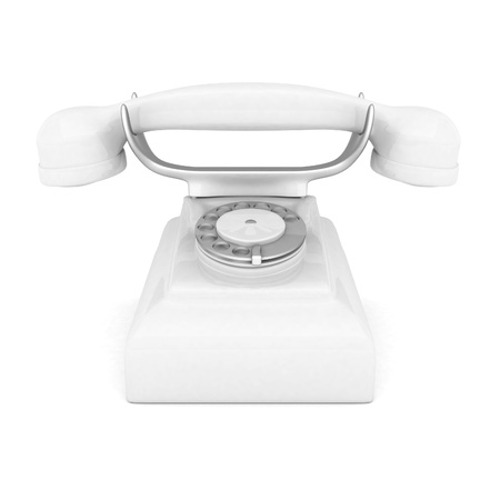 landlines: image of beautiful, white phone on a white background