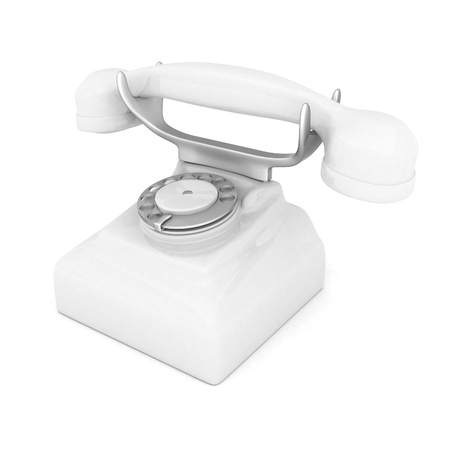 landlines: image of beautiful, white phone on a white background