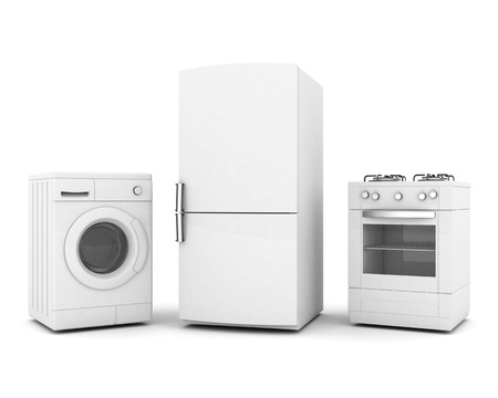imagen de los aparatos domésticos en un fondo blanco Foto de archivo