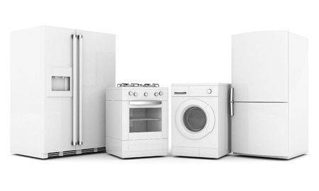 e new: picture of household appliances on a white background Stock Photo
