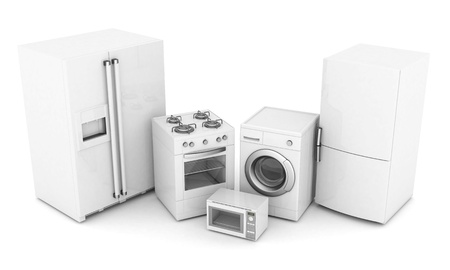 home appliance: picture of household appliances on a white background Stock Photo