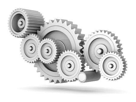 mecanica industrial: engranajes mecánicos aislados en fondo blanco