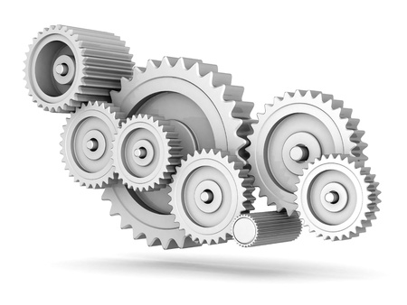 mechanical: mechanische versnellingen geïsoleerd op witte achtergrond Stockfoto