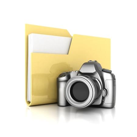 yellow folder isolated on white background Stock Photo - 15603399