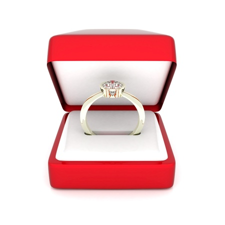 jewel box: image of wedding rings in a gift box on white background