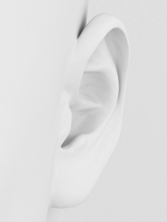 listen to music: 3d model of the ear on a gray background