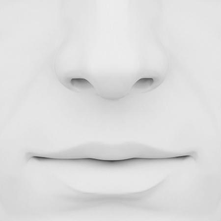 olfato: la nariz y la boca con un fondo gris 3D Foto de archivo
