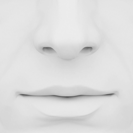 sniff: nose and mouth on a gray background 3D