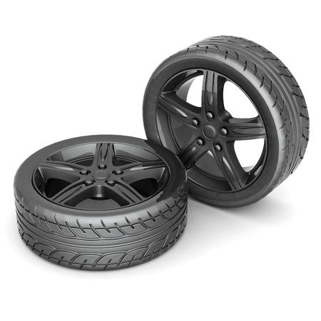 Black sports wheel on a white background Stock Photo - 15686321