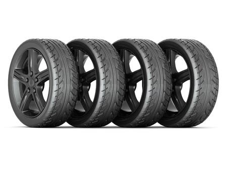 Black sports wheel on a white background Stock Photo - 15686293
