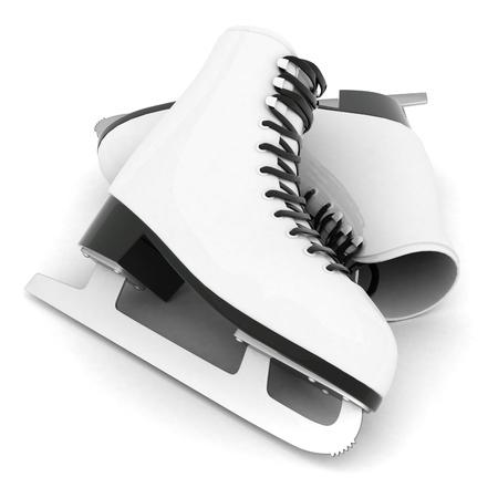 patinaje sobre hielo: patines para patinaje artístico sobre un fondo blanco