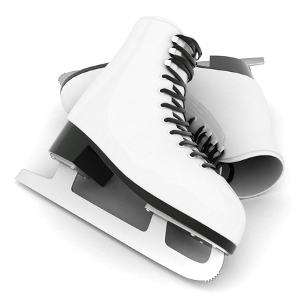 figure skating: skates for figure skating on a white background Stock Photo