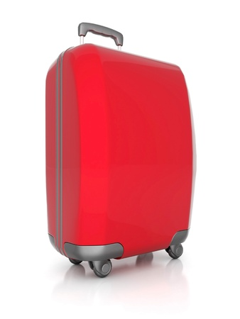 haversack: red suitcase isolated on white background
