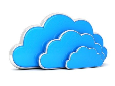 synchronizing: Clouds in 3D isolated on a white background