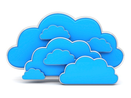 Clouds in 3D isolated on a white background photo