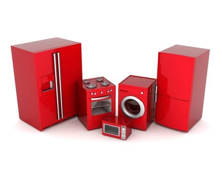 gas laundry: picture of household appliances on a white background Stock Photo