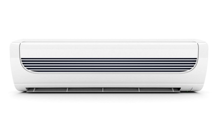 ionizer: Image of modern air conditioner isolated on a white background