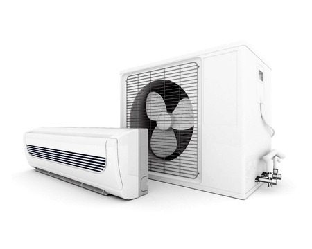 Image of modern air conditioner isolated on a white background photo
