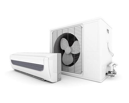aire acondicionado: Imagen de habitaciones modernas con aire acondicionado aislado en un fondo blanco