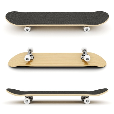 skate board: brand new skateboard, pictured on a white background Stock Photo
