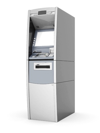 image of the new ATM on white background Stock Photo