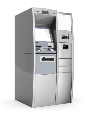 image of the new ATM on white background Standard-Bild