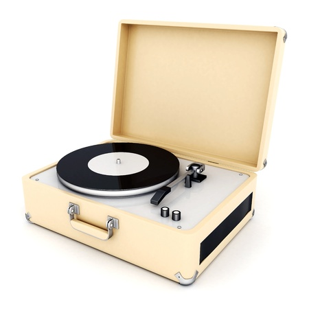 retro turntable isolated on white background