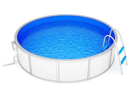 poolside: pool filled with water on a white background