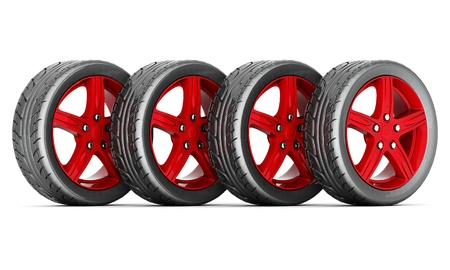 black and red sports wheel on a white background Stock Photo - 21772635