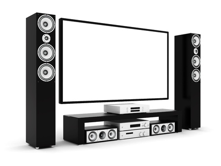 modern home theater on a white background Stock Photo - 21773110