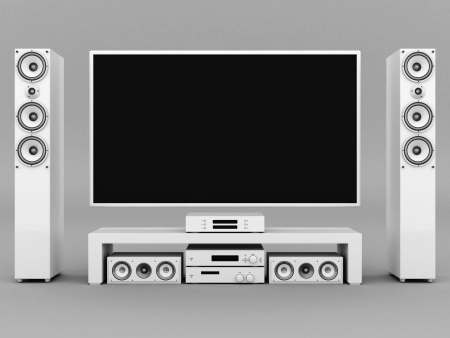 modern home theater on a gray background Stock Photo - 21773111