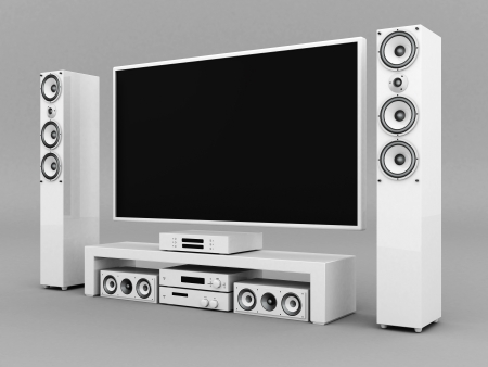 home audio: modern home theater on a gray background Stock Photo