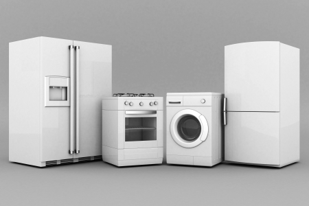 gas laundry: picture of household appliances on a gray background