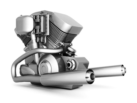 chromed motorcycle engine on a white background Standard-Bild
